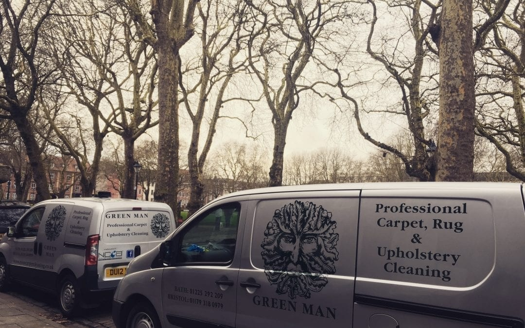 Photo of Green Man carpet cleaning vans outside an office carpet clean in Bristol