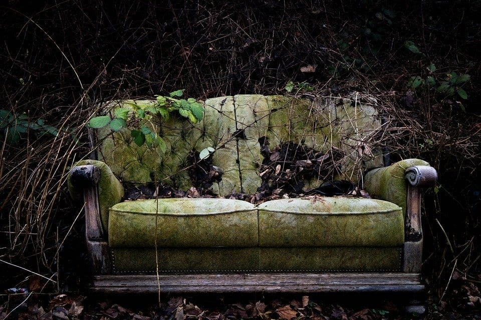 Image of a destroyed sofa